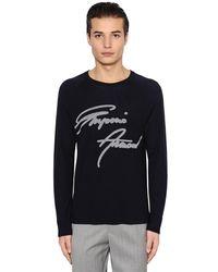 Emporio Armani - Blue Signature Wool Jacquard Sweater for Men - Lyst