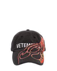 Casquette Avec Imprimé Logo Et Flammes Vetements en coloris Black