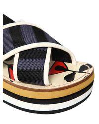 Marni Black Wedge In Bi-coloured Cotton Ribbon
