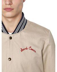 Maison Kitsuné - Natural Cotton Gabardine Bomber Jacket for Men - Lyst