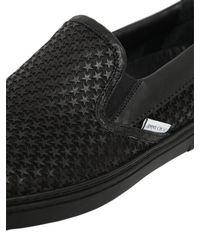 Jimmy Choo Black Grove Mini Stars Leather Sneakers for men