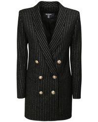 Balmain ウールブレンドジャケットミニドレス Black