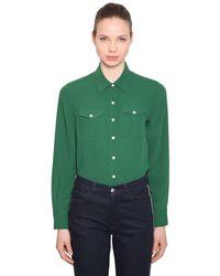 Calvin Klein Green Twill Shirt With Pockets