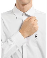Neil Barrett White Cotton Poplin Shirt W/ Printed Bolt for men
