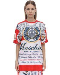 Moschino オーバーサイコットンジャージーtシャツ Red