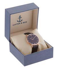 KAPTEN & SON Metallic 40mm Leather Watch for men
