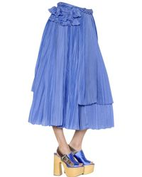 Rochas Blue Cotton & Silk Voile Skirt W/ Ruffles