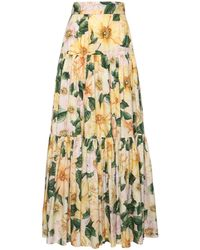 Юбка Из Хлопка Поплин Dolce & Gabbana, цвет: Yellow