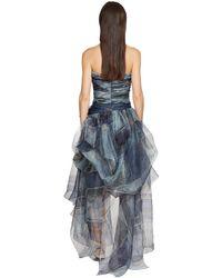 Ermanno Scervino デニムプリントオーガンザコルセットドレス Blue