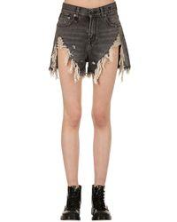 R13 Gray High Waist Destroyed Denim Shorts