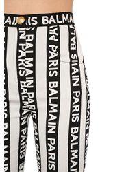 Balmain インターシャロゴ ストレッチコットンパンツ Black