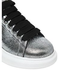 Alexander McQueen Metallic 40mm Crackled Leather Sneakers