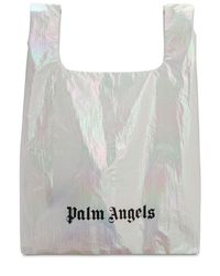 Palm Angels メタリックナイロントートバッグ White