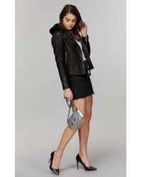Mackage Yoana Classic Moto Leather Jacket With Removable Hood In Black - Women