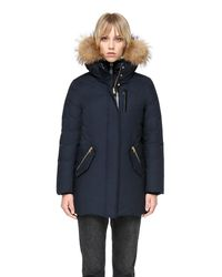 Mackage Blue Marla Mid Length Winter Down Coat With Fur