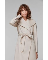 Mackage Natural Leora Long Wool Jacket With Stand Collar And Waterfall Front In Sand - Women - L