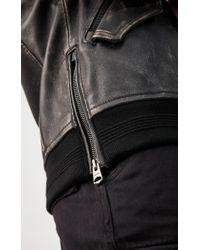Mackage Black Garnet Leather Bomber Jacket With Sheepskin Collar In Distress for men