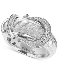 Effy Collection Metallic Diamond Belt Buckle Ring (1/5 Ct. T.w.) In Sterling Silver