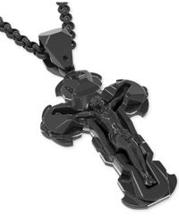 Macy's - Men's Diamond Accent Crucifix Pendant Necklace In Black Ion-plated Stainless Steel - Lyst
