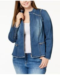 INC International Concepts - Blue I.n.c. Plus Size Lace-up Denim Jacket, Created For Macy's - Lyst