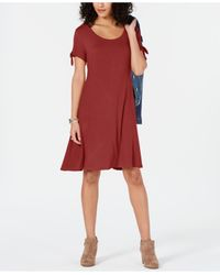 Style & Co. Red Petite Tie-sleeve Swing Dress, Created For Macy