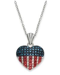 Macy's | Red, White And Blue Diamond Flag Heart Pendant Necklace In Sterling Silver (1/3 Ct. T.w.) | Lyst