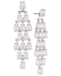 Carolee - White Silver-tone Cubic Zirconia Jacket Earrings - Lyst