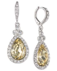 Givenchy Metallic Silver-tone Pavé & Stone Drop Earrings, Created For Macy's