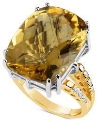 Macy's Metallic Citrine (18-1/2 Ct. T.w.) & Diamond (1/6 Ct. T.w.) Ring In 14k Gold