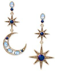 Betsey Johnson - Blue Gold-tone Moon & Stars Stone Mismatch Earrings - Lyst