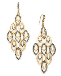 INC International Concepts - Metallic I.n.c. Gold-tone Polished & Pavé Chandelier Earrings, Created For Macy's - Lyst