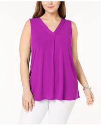 Alfani Purple Plus Size V-neck Top, Created For Macy's