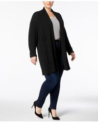 Charter Club - Black Plus Size Ribbed-knit Duster Cardigan, Created For Macy's - Lyst