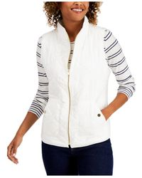 Charter Club White Petite Quilted Vest, Created For Macy