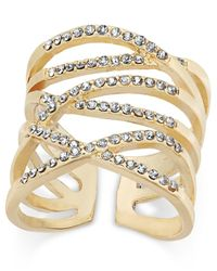 INC International Concepts | Metallic Gold-tone Pavé Interlocking Ring | Lyst