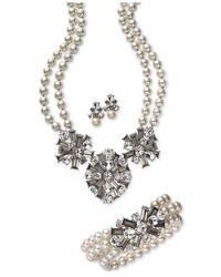 Charter Club - White Silver-tone Imitation Pearl & Crystal Stretch Bracelet - Lyst