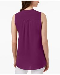 Charter Club Purple Split-neck Top, Created For Macy's