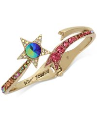 Betsey Johnson - Metallic Gold-tone Multi-stone Shooting Star Hinged Bangle Bracelet - Lyst