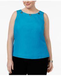 Kasper - Blue Plus Size Grommet-trim Shell - Lyst
