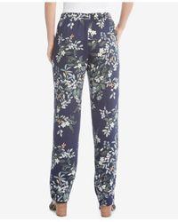 Karen Kane - Blue Drawstring Printed Pants - Lyst