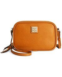 Dooney & Bourke Brown Saffiano Leather Sawyer Crossbody