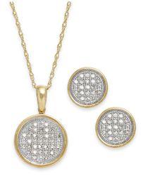 Macy's Metallic Diamond Disc Jewelry Set In 10k Gold (1/5 Ct. T.w.)