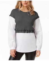 Kensie - Gray Layered-look Sweater - Lyst