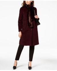 Jones New York - Red Walker Coat With Faux Fur Scarf - Lyst