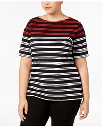 Karen Scott - Black Plus Size Cotton Striped Cuffed-sleeve Top, Created For Macy's - Lyst