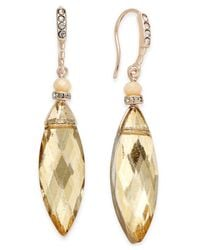 INC International Concepts - Metallic Gold-tone Pave & Navette Crystal Drop Earrings - Lyst