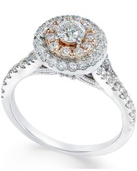 Macy's - Metallic Diamond Two-tone Engagement Ring (1 Ct. T.w.) In 14k White Gold - Lyst