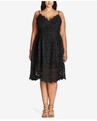 City Chic Black Plus Size Trendy So Fancy Lace Dress