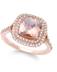 Effy Collection - Metallic Morganite (1-7/10 Ct. T.w.) And Diamond (3/8 Ct. T.w.) Ring In 14k Rose Gold - Lyst