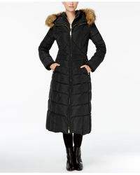 Jones New York - Black Faux-fur-trim Down Maxi Coat - Lyst